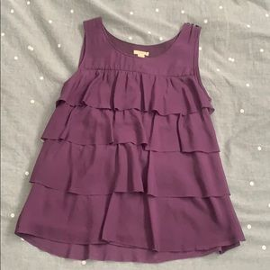 J Crew silk tiered ruffle sleeveless top